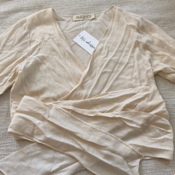 Audrey 3+1 Tops - Off white cream wrap top